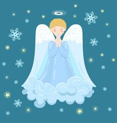 Angel on cloud in sky vector
