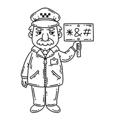 angry taxi driver coloring pages vector image