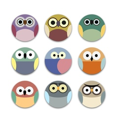 App icons cute owls vector image