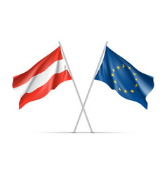 Austria and european union waving flags vector