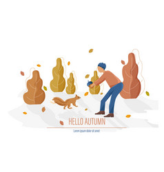 autumn card with man feeding a squirrel vector image