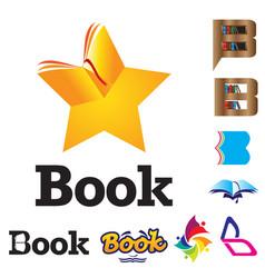 b logos and icons book theme set vector image