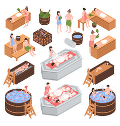 Bath house isometric set vector