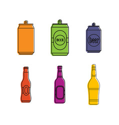 beer icon set color outline style vector image