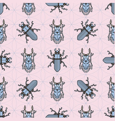 beetles fly maryls insects seamless pattern vector image