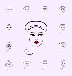 beret hat girl icon hat girl icons universal set vector image