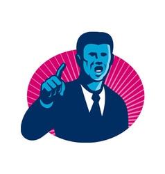 Blue businessman politician pointing retro vector