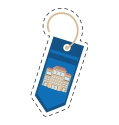 Blue tag price bulilding property cut line vector