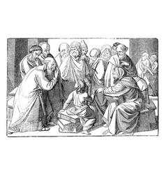 Boy jesus talking with teachers in temple vector