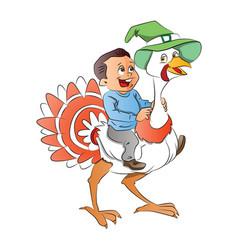 Boy riding a turkey vector