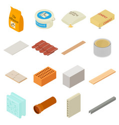 Building materials icons set isometric style vector
