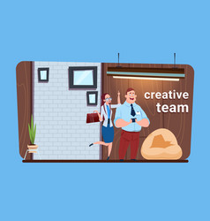 business man and woman creative team standing in vector image