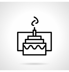 Cake with candle simple black line icon vector image