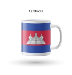 Cambodia flag souvenir mug on white background vector