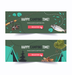 Camping banner design with rod fish tent firewood vector