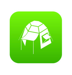 camping tent icon green vector image