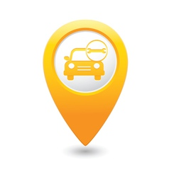 Car with wrench icon map pointer yellow vector