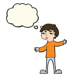 Cartoon annoyed boy with thought bubble vector