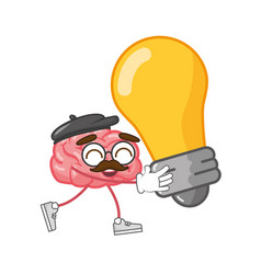 cartoon brain creativity vector image