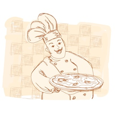 Chef with pizza - doodle vector