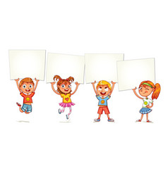 Children are raised up placard vector