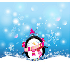 christmas postcard with a funny penguin on a snowy vector image