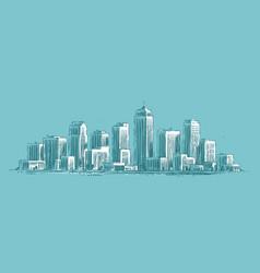 city landscape sketch modern cityscape vector image