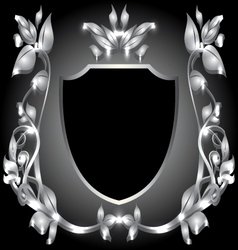 Coat of arms silver monogram vector
