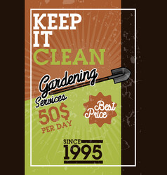 Color vintage gardening services banner vector