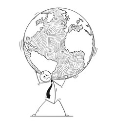 conceptual cartoon of businessman carry world vector image
