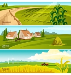 Countryside 3 Horizontal Flat Banners Set vector