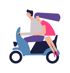 Couple in love rides scooter on romantic date vector