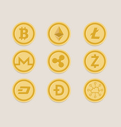 Cryptocurrency coin set bitcoin digital currency vector
