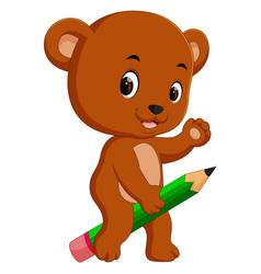 cute bear riding big pencil vector image