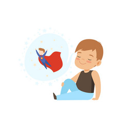 Cute boy dreaming of becoming a superman kids vector