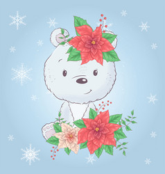 cute cartoon christmas bear with poinsettia vector image
