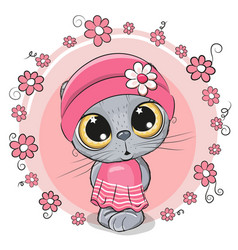 cute cartoon kitten with flowers vector image