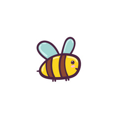 cute flying bee isolated element funny character vector image