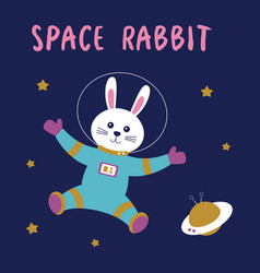 cute space card with rabbit astronaut vector image