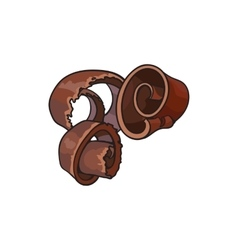 Dark chocolate shaving curl spiral for cake vector image