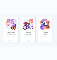 Disabled people environment app interface template vector