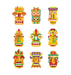 ethnic mask set tribal indian or african colorful vector image