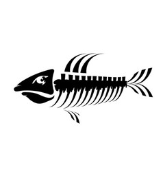 Fish bone skeleton symbol sea fishes icons vector