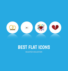 Flat icon love set of divorce ring letter and vector