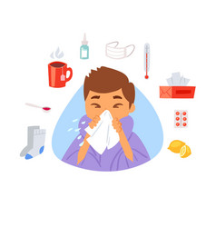 flu and sick boy with handkerchief in hand and vector image