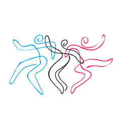 Folk dance group line art vector