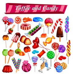 Full collection of different colorful candy and vector