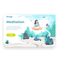 Girl meditating in lotus pose and hovering above vector