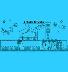 Greece rhodes winter holidays skyline merry vector