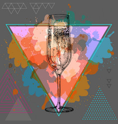 Hand drawing champagne glass vector